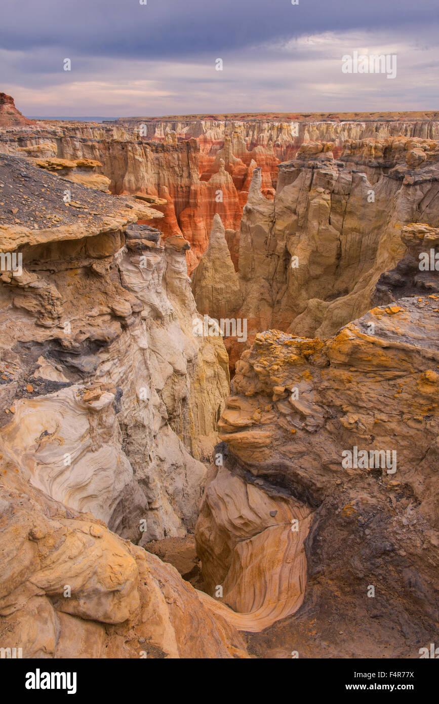 USA, United States, America, Arizona, Coal Mine Canyon, Navajo Indian Reservation, landscape, hoodoo, vertical, Stock Photo