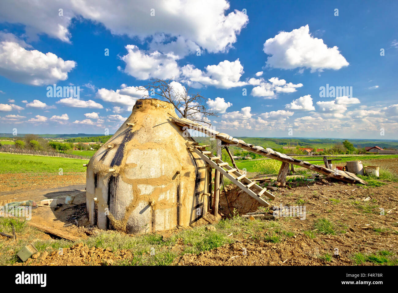 Charcoal production plant in rural region of Croatia - Stock Image