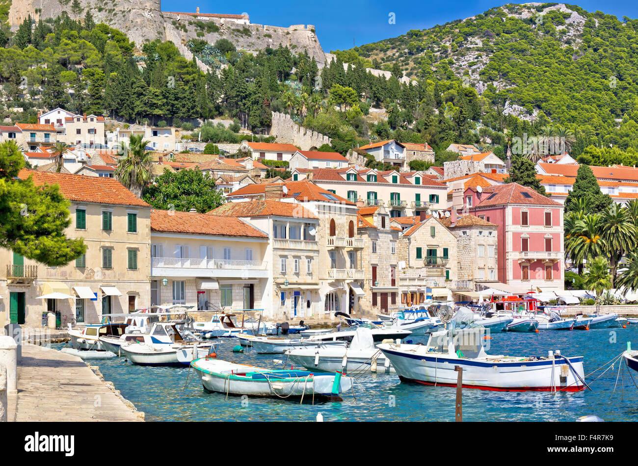 Island of Hvar waterfront architecture, Dalmatia, Croatia - Stock Image