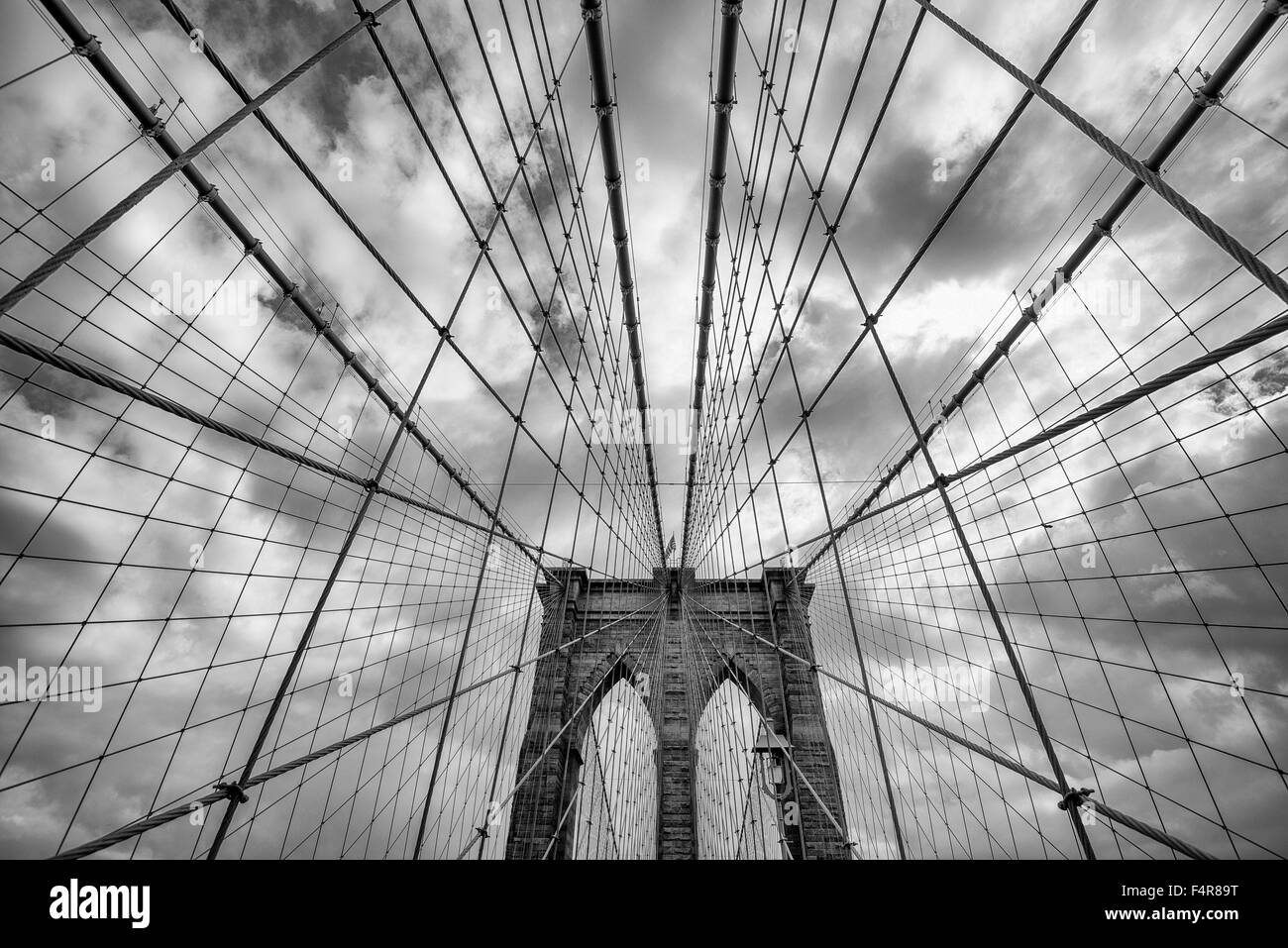Close up view of the Brooklyn Bridge, New York USA - Stock Image
