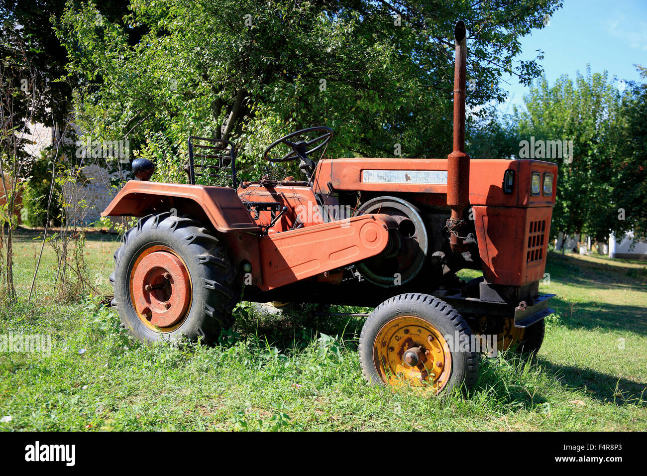 Chinese Antique Tractors : Old means of transportation stock photos
