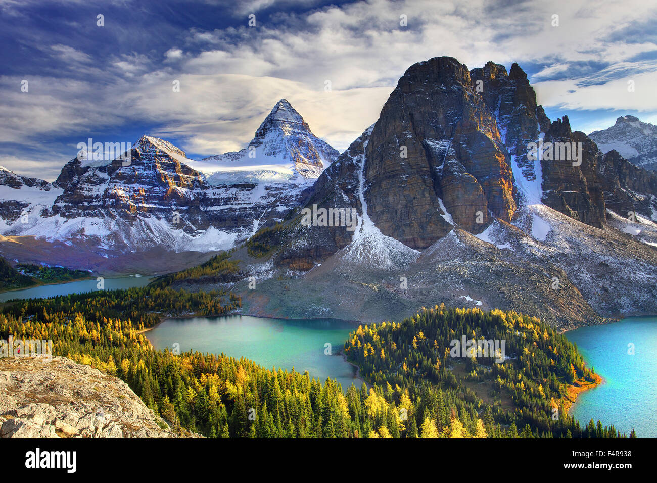 Canada, province, nature, landscape, Rockies, Canadian Rockies, mountains, lake, scenery, British Columbia, Mount - Stock Image