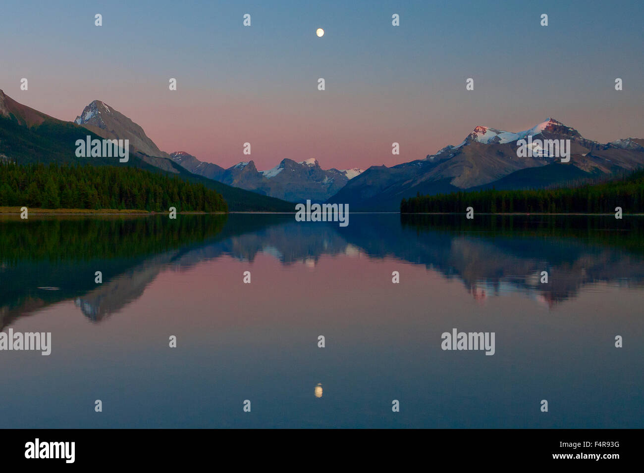 Canada, province, nature, landscape, Rockies, Canadian Rockies, mountains, lake, scenery, Alberta, Jasper, National - Stock Image