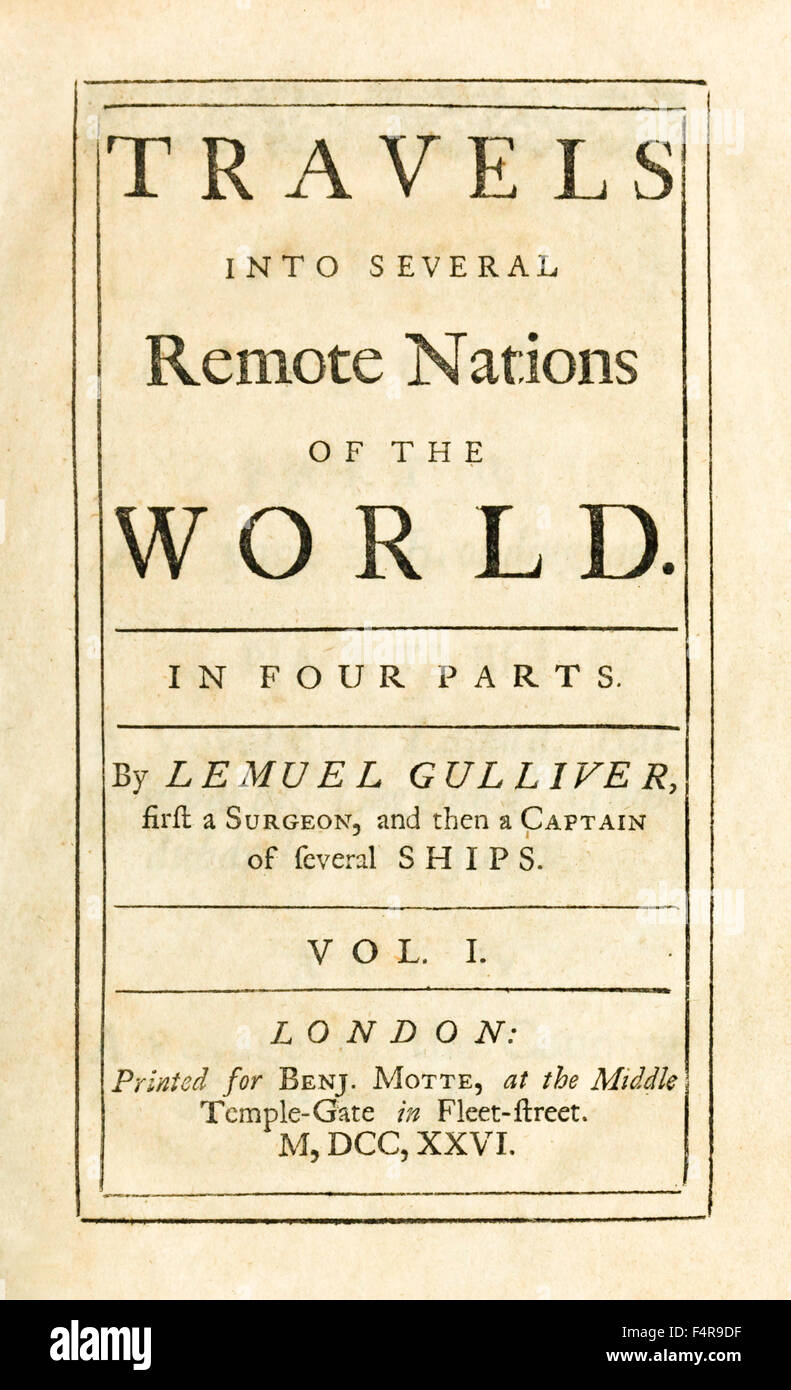 Title page from 'Travels into Several Remote Nations of the World' better know as 'Gulliver's Travels' - Stock Image