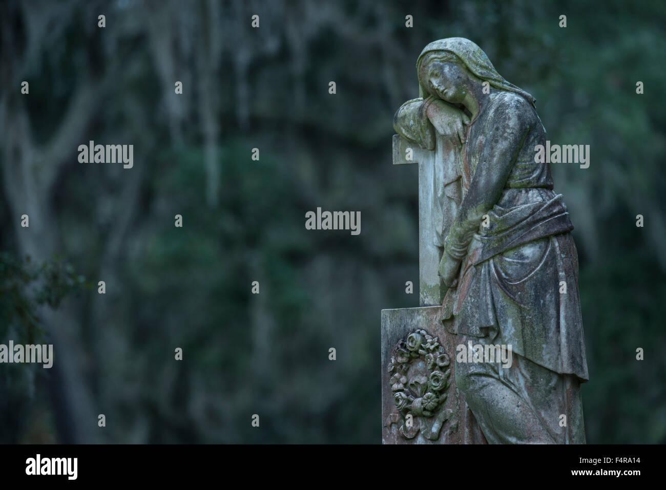 USA, United States, America, Georgia, southern, Savannah, Bonaventure, cemetery, graveyard, statue, - Stock Image
