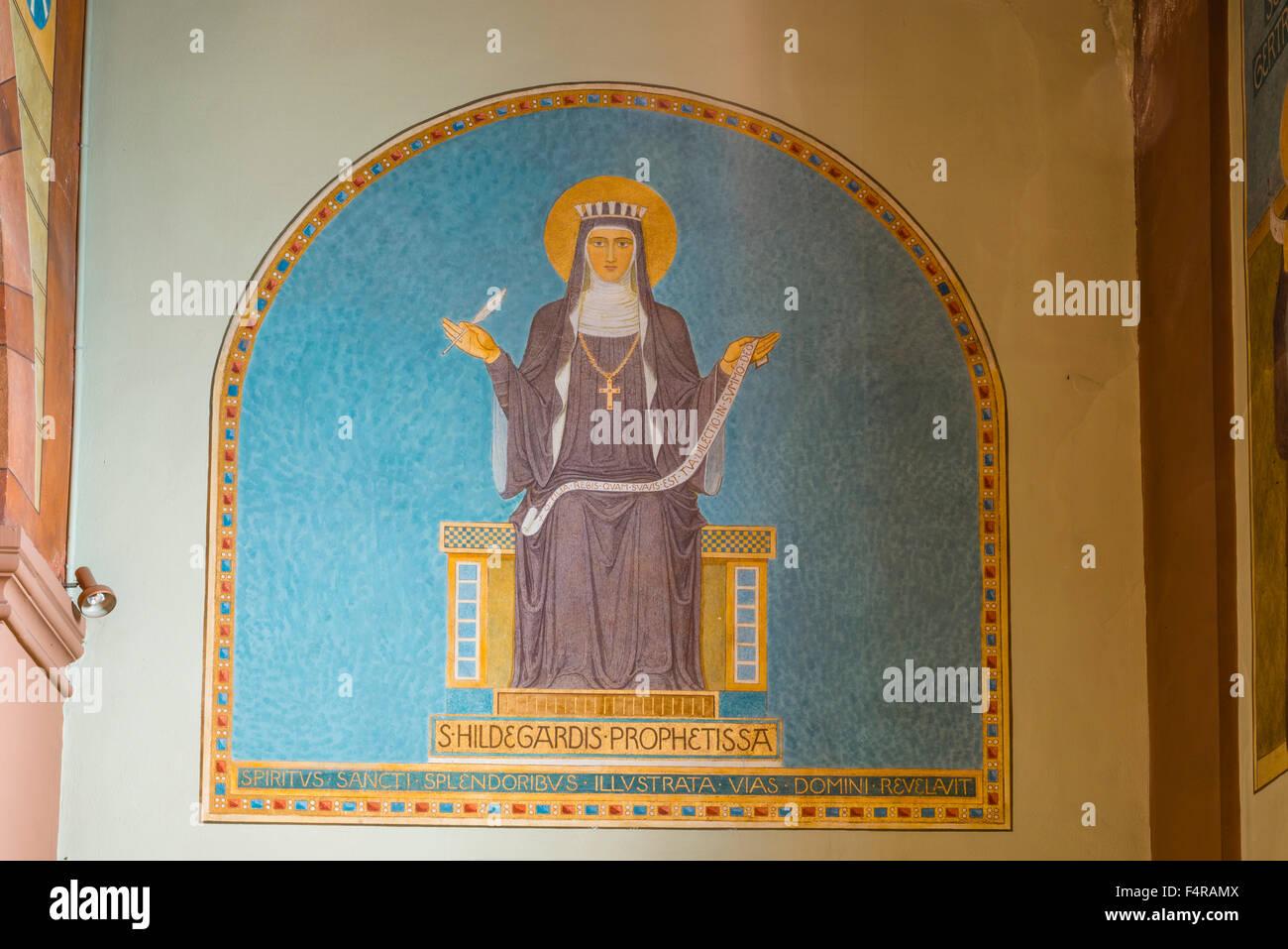 Benedictine, adviser, picture, Bingen, Christianity, Germany, poet, ethics, Europe, saints, Hessen, Hildegard, church, - Stock Image