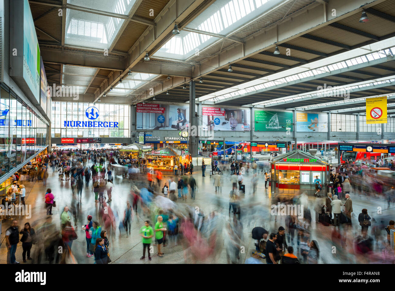 Railway station, railway station hall, blur, Germany, haste, Europe, central station, hectic rush, long time exposure, - Stock Image