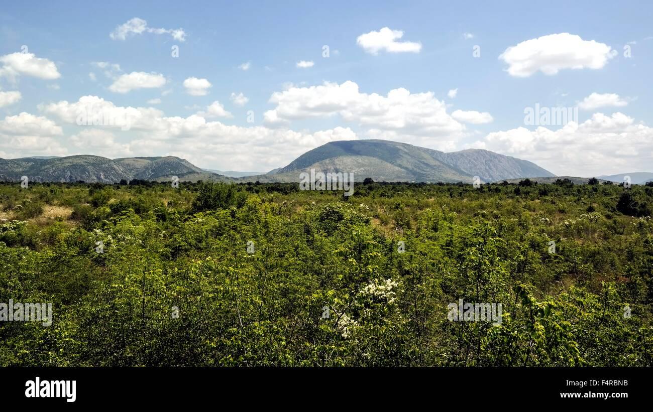 Karst plateau near Hodovo in Stolac Municipality. Stock Photo