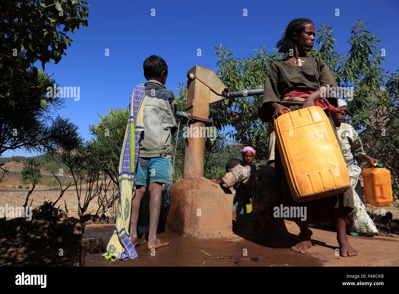 Amhara Region, locals collect water at the fountain Stock Photo