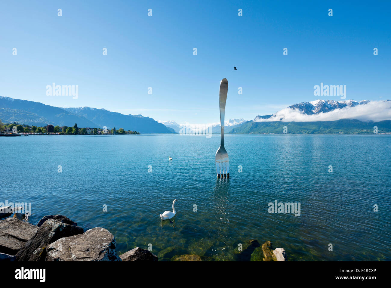 Switzerland, town, city, Fourchette, fork, Jean-Pierre Zaugg, Vaud, VD, Vevey, Lac Léman, lake Geneva, lake, - Stock Image