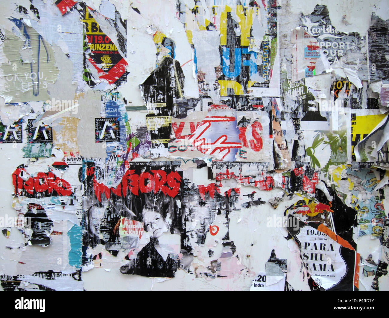 Poster, posters, advertising, stick, ripped, Germany, Europe - Stock Image