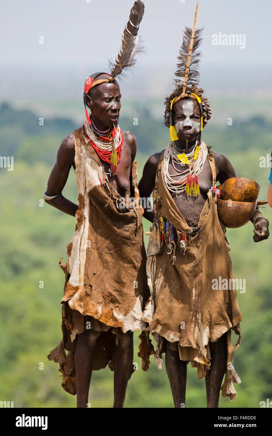 two mature Karo tribe women. Omo Valley, Ethiopia - Stock Image