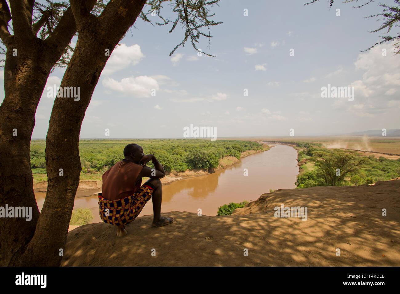 Karo tribe man. Omo Valley, Ethiopia Stock Photo