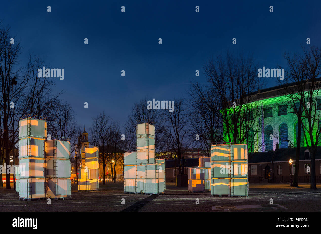 Netherlands, Holland, Europe, village, forest, wood, trees, winter, Illumination, Light, sculpture, Jonas Daniel - Stock Image