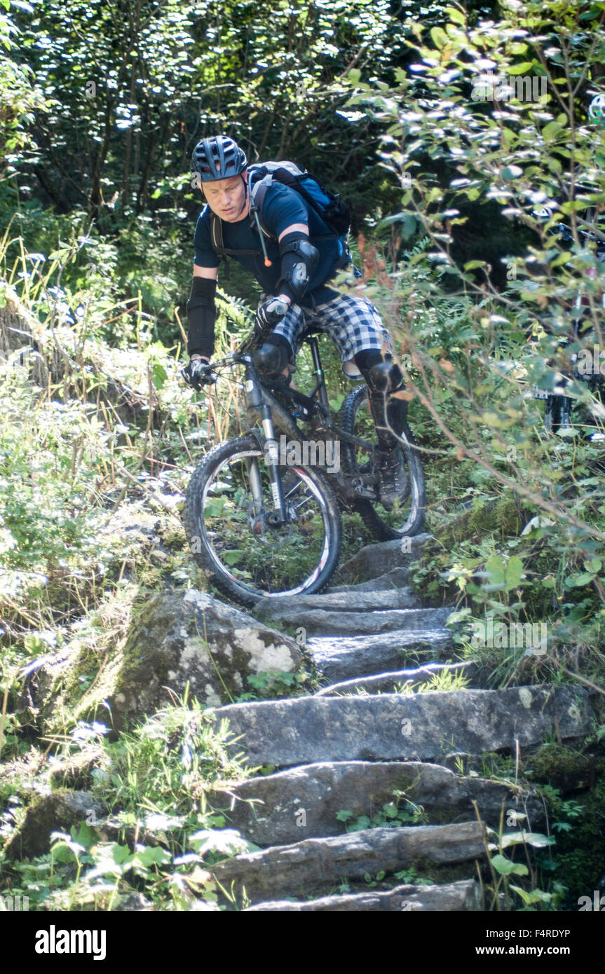 Mountain biker rides down a steep decent Photographed in Tirol Austria - Stock Image