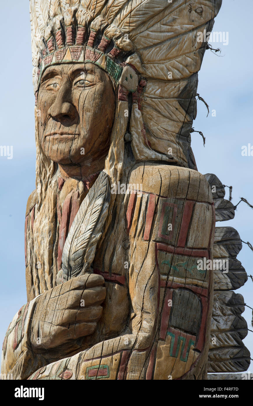 USA, Montana, Crow Indian Reservation, Great plains, kitsch at gas station at Crow agency - Stock Image
