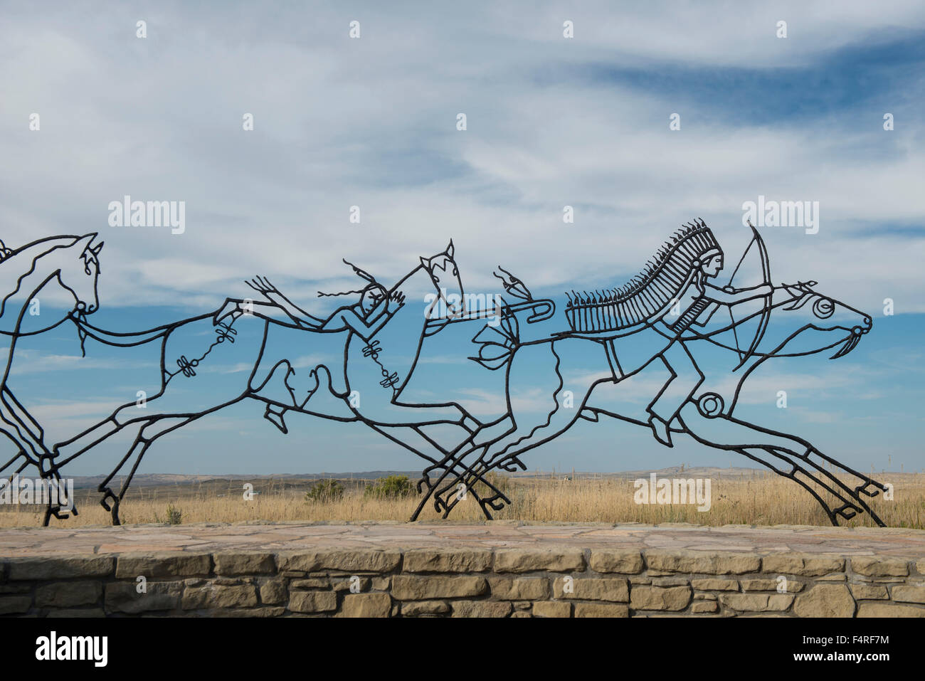USA, Montana, Crow Indian Reservation, Great plains, Little Bighorn Battlefield National Monument - Stock Image