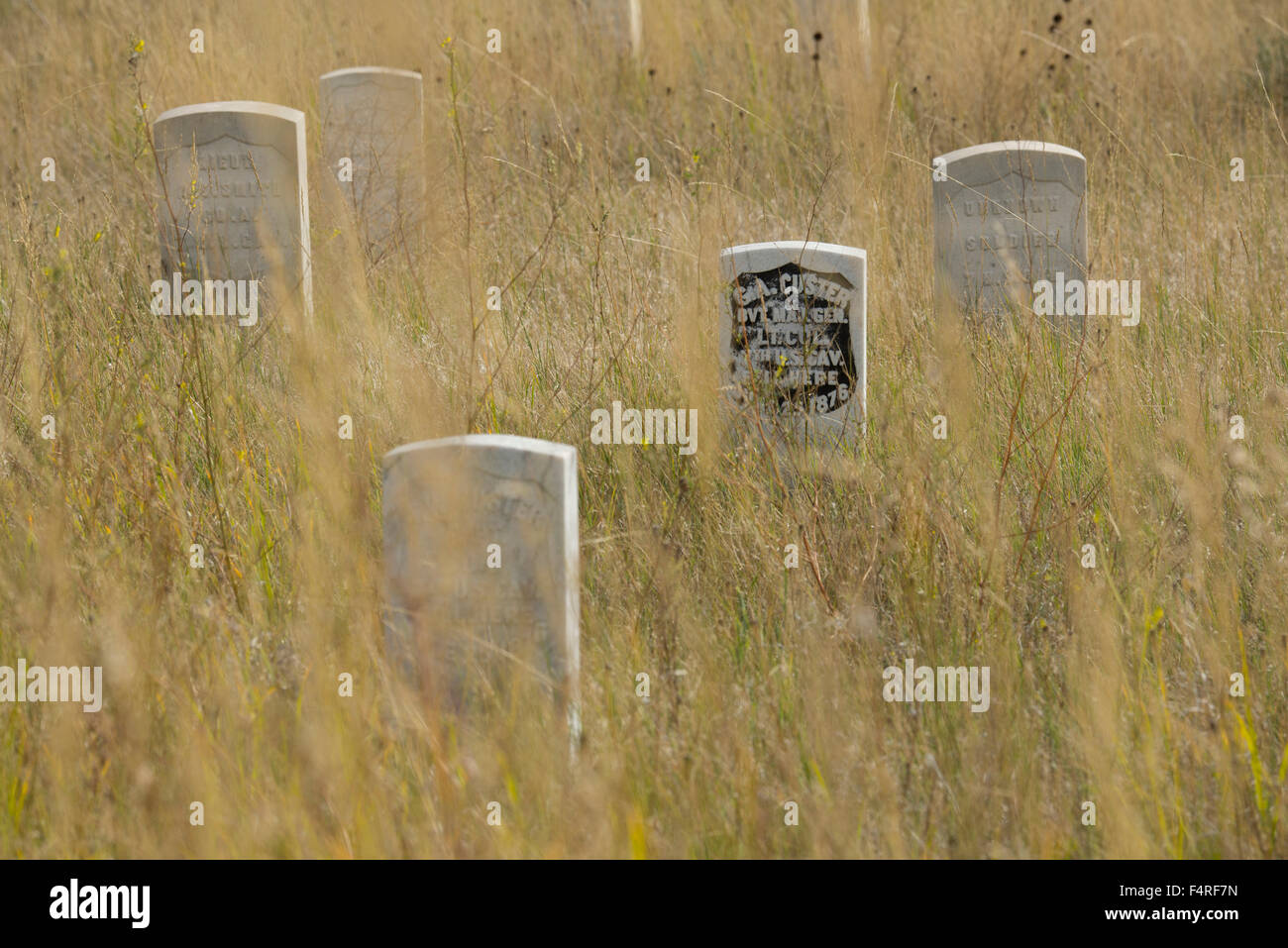USA, Montana, Crow Indian Reservation, Great plains, Little Bighorn Battlefield National Monument, custers grave - Stock Image
