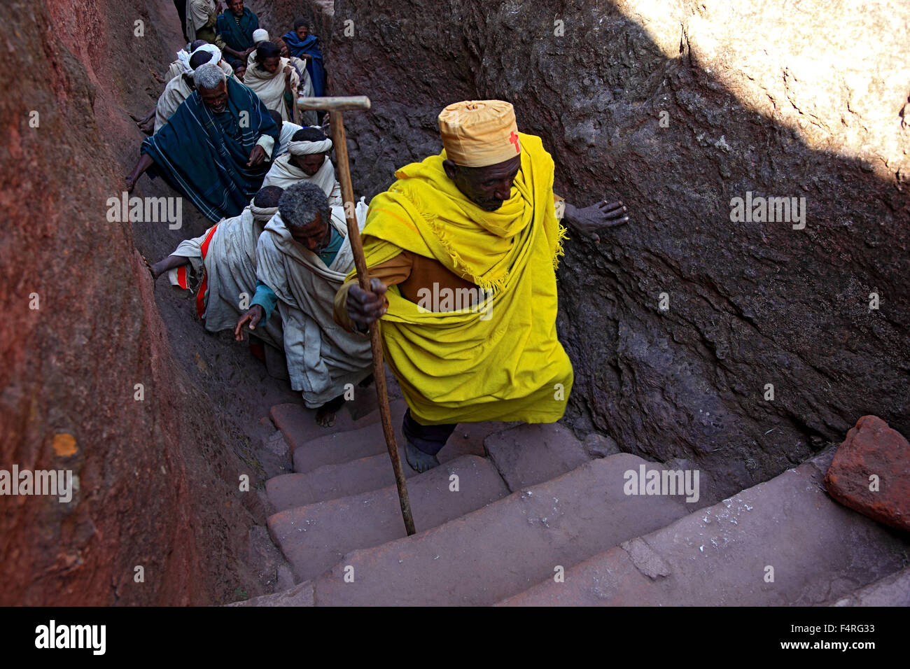 Rock churches of Lalibela, pilgrims on the road between the rock churches - Stock Image