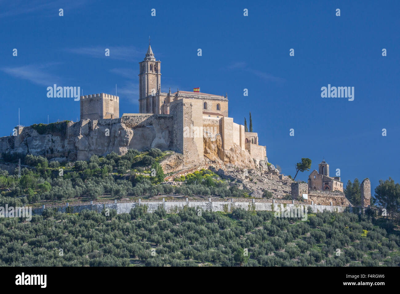 Alcaudete, town, Andalusia, Jaen, Landscape, Spain, Europe, Spring, architecture, castle, church, church, olive, Stock Photo