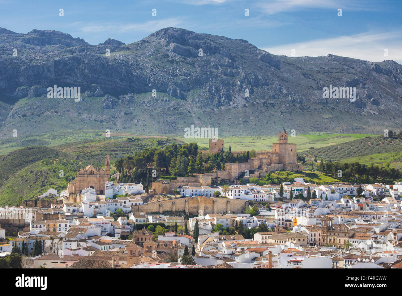 Andalusia, Antequera, town, Landscape, Malaga, Spain, Europe, Spring, architecture, castle, colourful, no people, - Stock Image