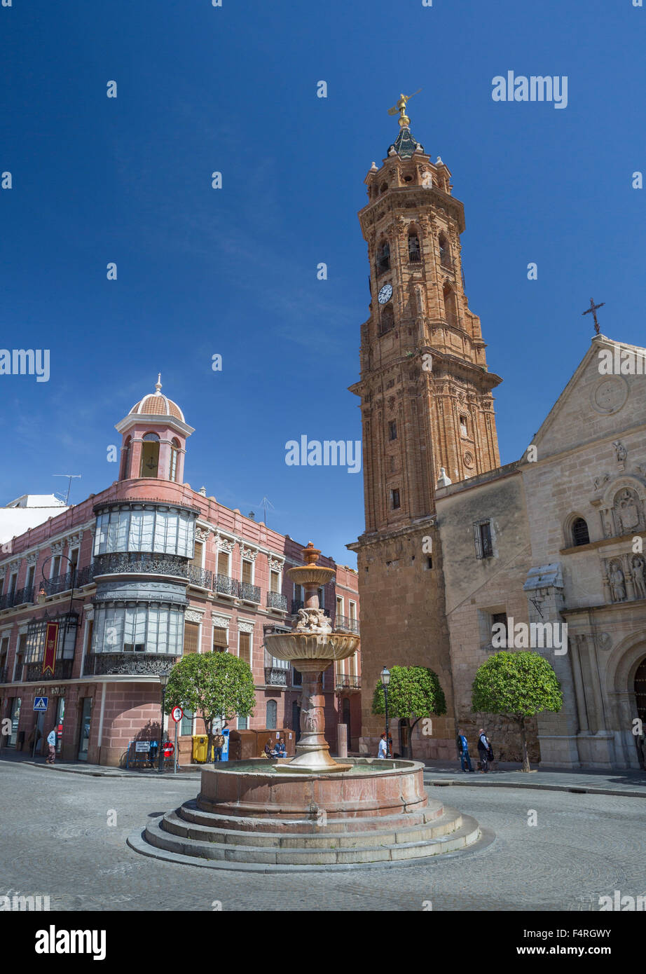 Andalusia, Antequera, town, Malaga, Spain, Europe, Spring, architecture, belfry, colourful, downtown, fountain, - Stock Image