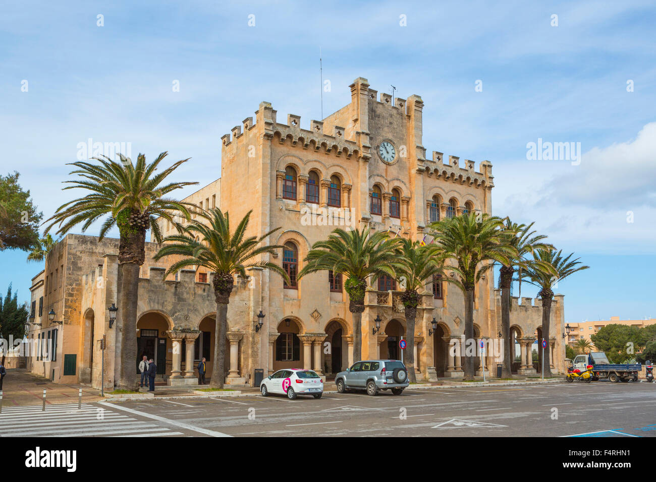 Building, Ciutadella, Port, City Hall, Menorca, Balearics, Spring, architecture, Mediterranean, no people, palm - Stock Image