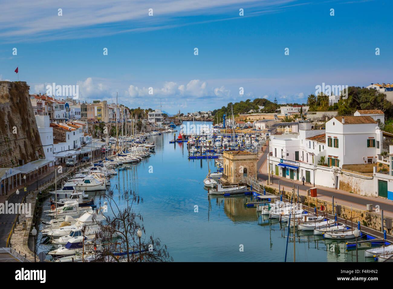 Building, Ciutadella, Landscape, Menorca, Balearics, Spring, architecture, bay, boats, Mediterranean, no people, - Stock Image