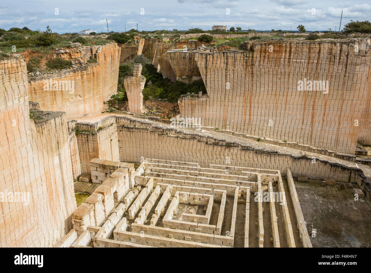 Ciutadella, town, Lithica, Menorca, Island, Spain, Europe, S'Hostal, architecture, Balearic, big, deep, quarry, - Stock Image