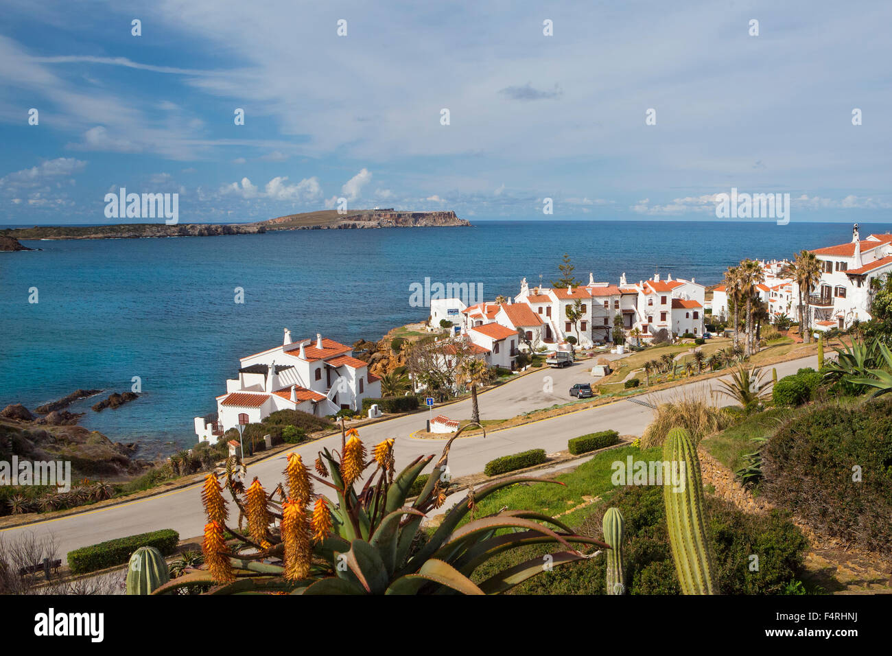 Fornells, Landscape, Menorca, Balearics, Spain, Europe, Spring, architecture, Balearic, colourful, Mediterranean, - Stock Image