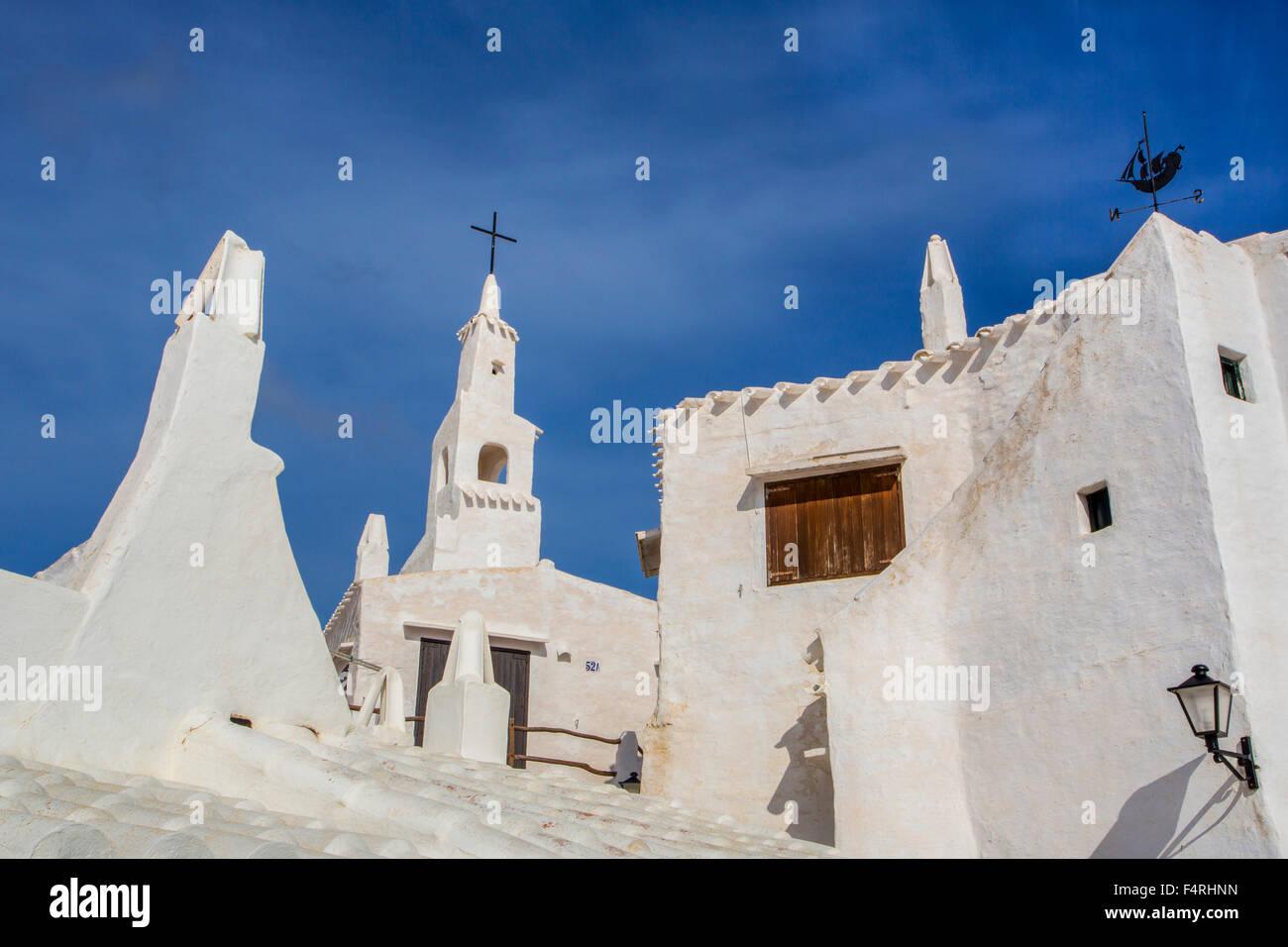 Binibeca, Fishing, Landscape, Menorca, Balearics, Spain, Europe, Spring, Village, architecture, Balearic, island, - Stock Image