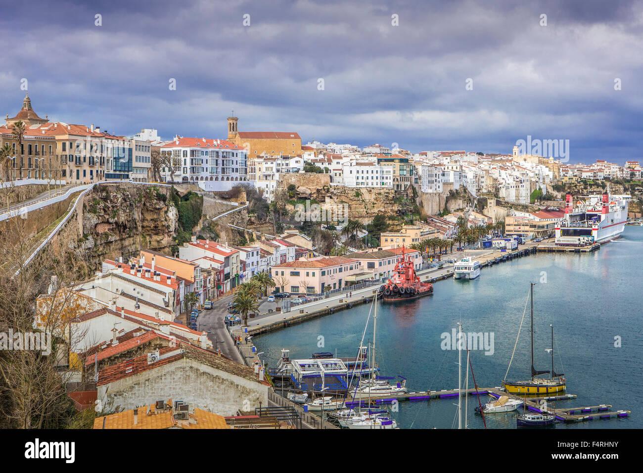 Balearic Islands, Landscape, Mao, town, Menorca, Island, Spain, Europe, Spring, architecture, cliff, Mediterranean, - Stock Image