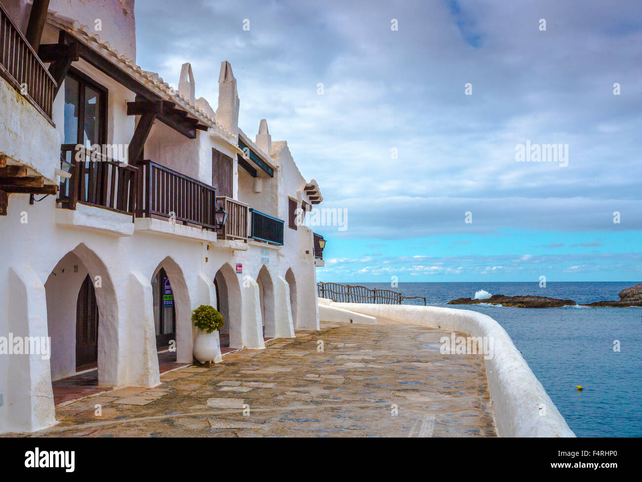 Balearic Islands, Binibeca, Fishing Village, Menorca, Island, Old Binibeca, Spain, Europe, Spring, arch, architecture, - Stock Image
