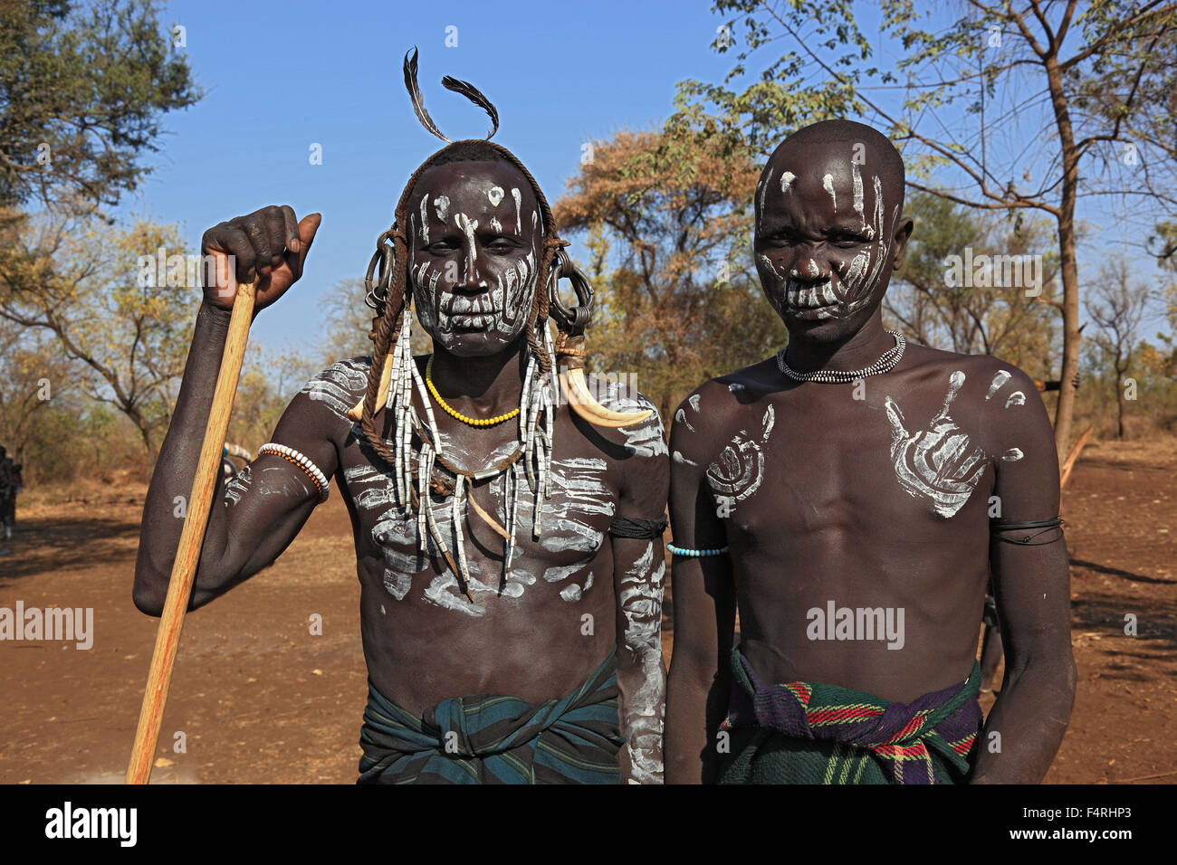 in Maco National Park, Mursi, two boys with painted faces Mursi - Stock Image