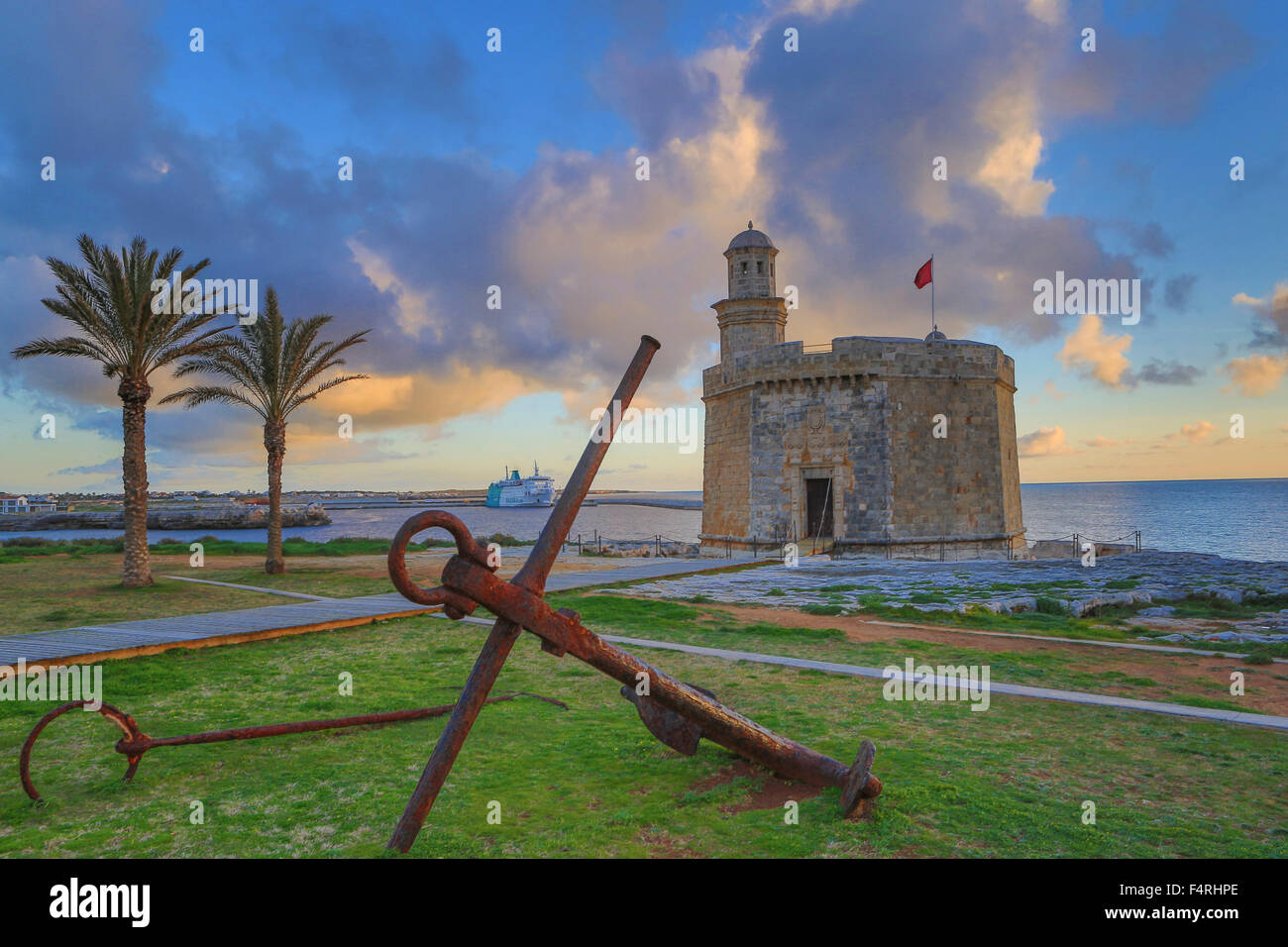 Balearic Islands, Ciutadella, town, Menorca, Island, Sant Nicolau, Spain, Europe, Spring, anchor, architecture, Stock Photo