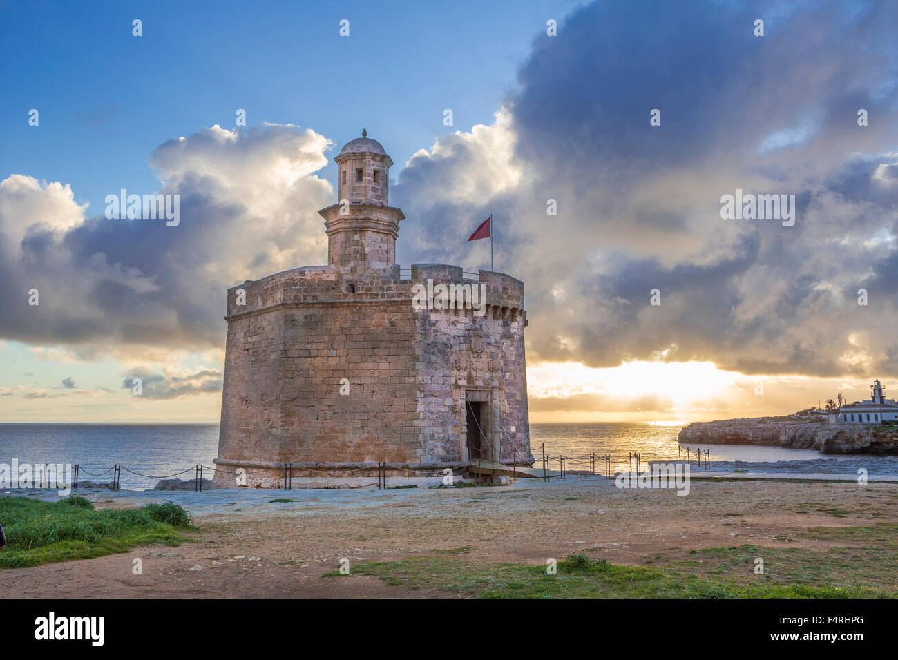 Balearic Islands, Ciutadella, town, Menorca, Island, Sant Nicolau, Spain, Europe, Spring, architecture, castle, - Stock Image