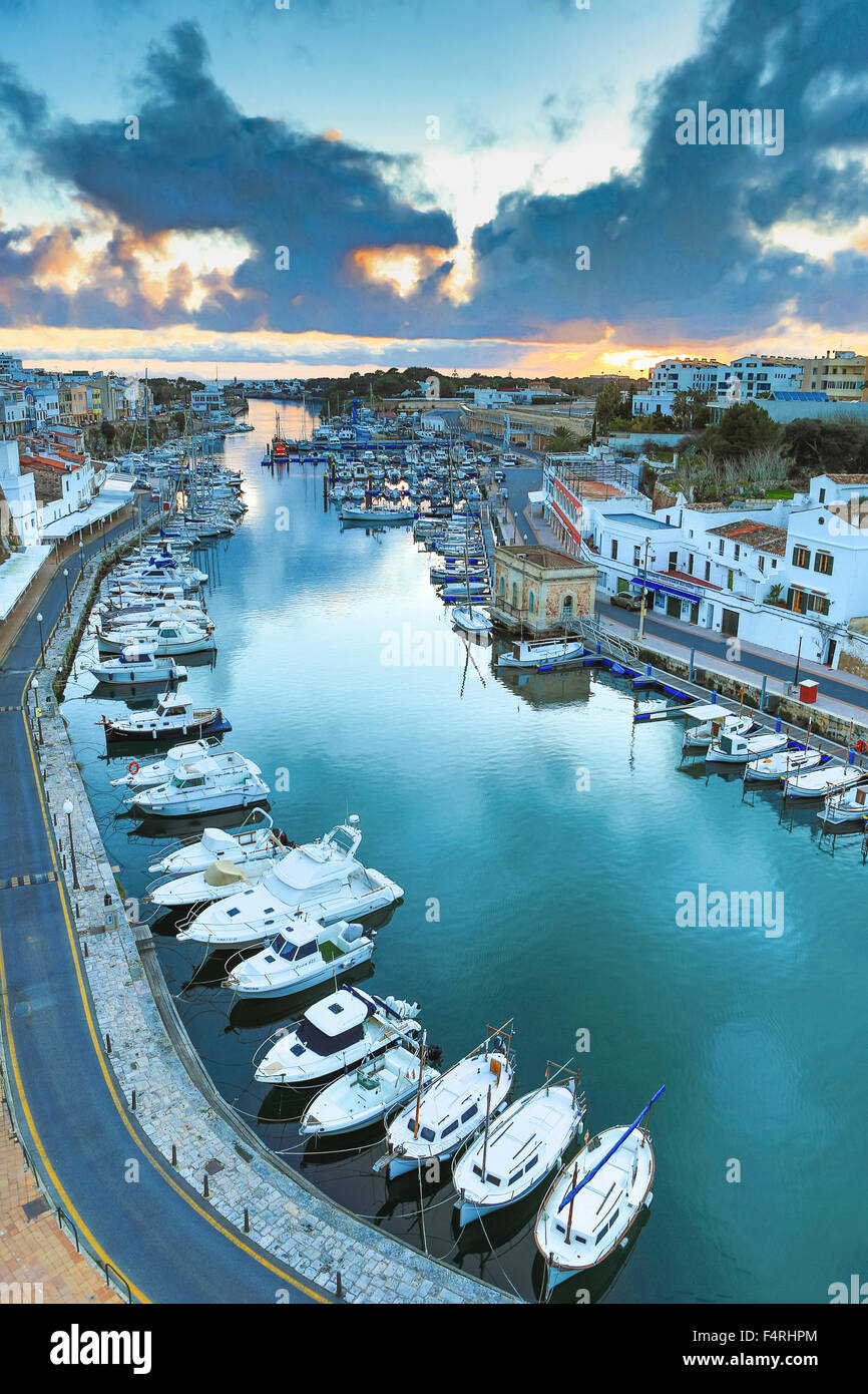Balearic Islands, Ciutadella, town, Landscape, Menorca, Island, Spain, Europe, Spring, architecture, boats, colourful, - Stock Image