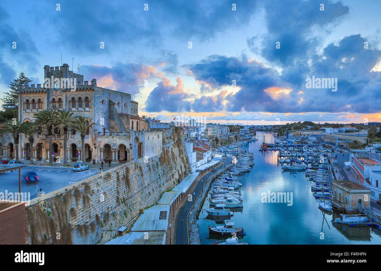 Balearic Islands, City Hall, Ciutadella, town, Landscape, Menorca, Island, Spain, Europe, Spring, architecture, - Stock Image