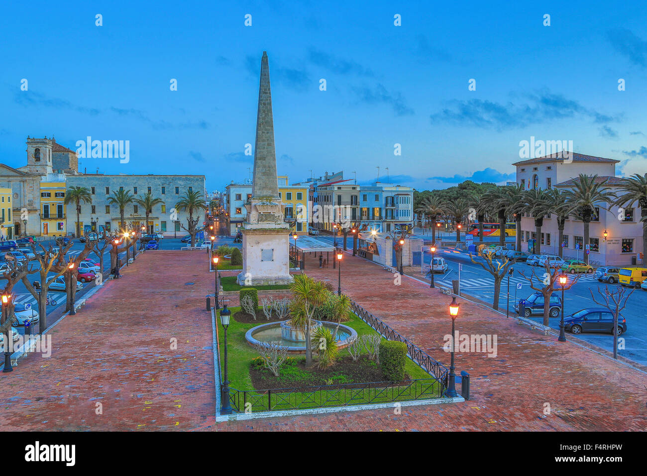 Balearic Islands, Born, Ciutadella, town, Menorca, Island, Spain, Europe, Spring, architecture, lights, no people, - Stock Image