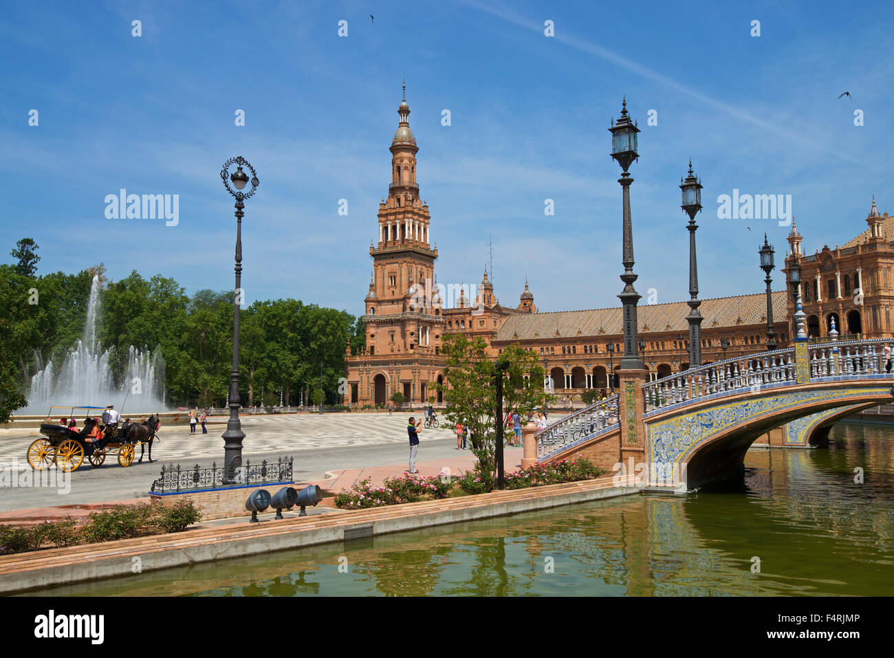 Andalusia, Spain, Europe, outside, day, Plaza de Espana, Seville, building, construction, architecture, place of - Stock Image