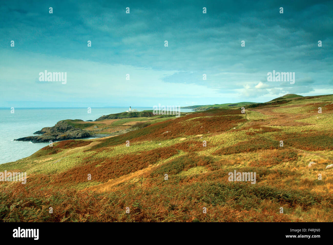 Killantringan Lighthouse from the Southern Upland Way near Portpatrick, Dumfries and Galloway - Stock Image