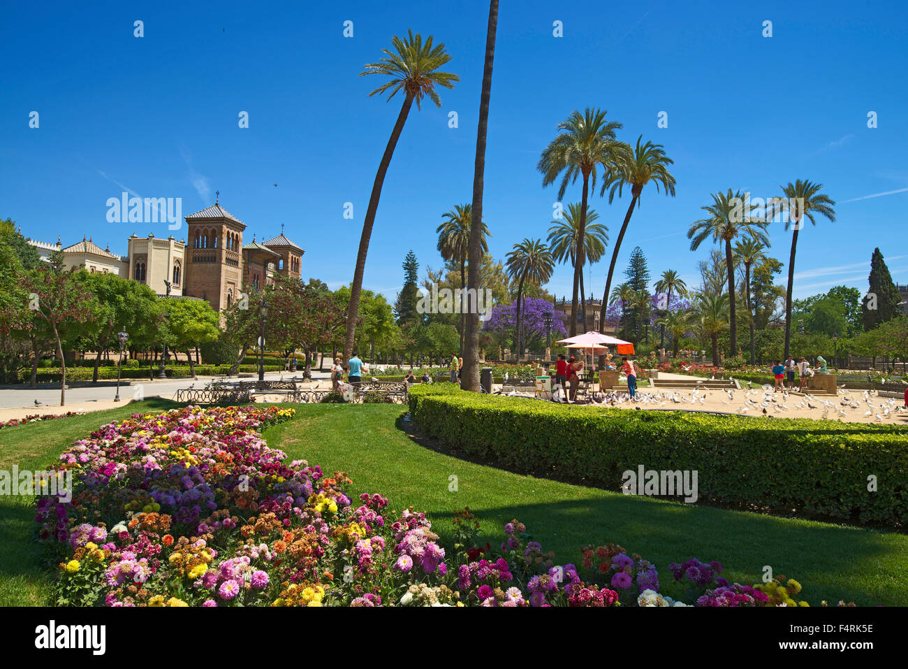 Andalusia, Spain, Europe, outside, day, Mudejar pavilion, park Maria Luisa, Seville, town park, park, nobody - Stock Image