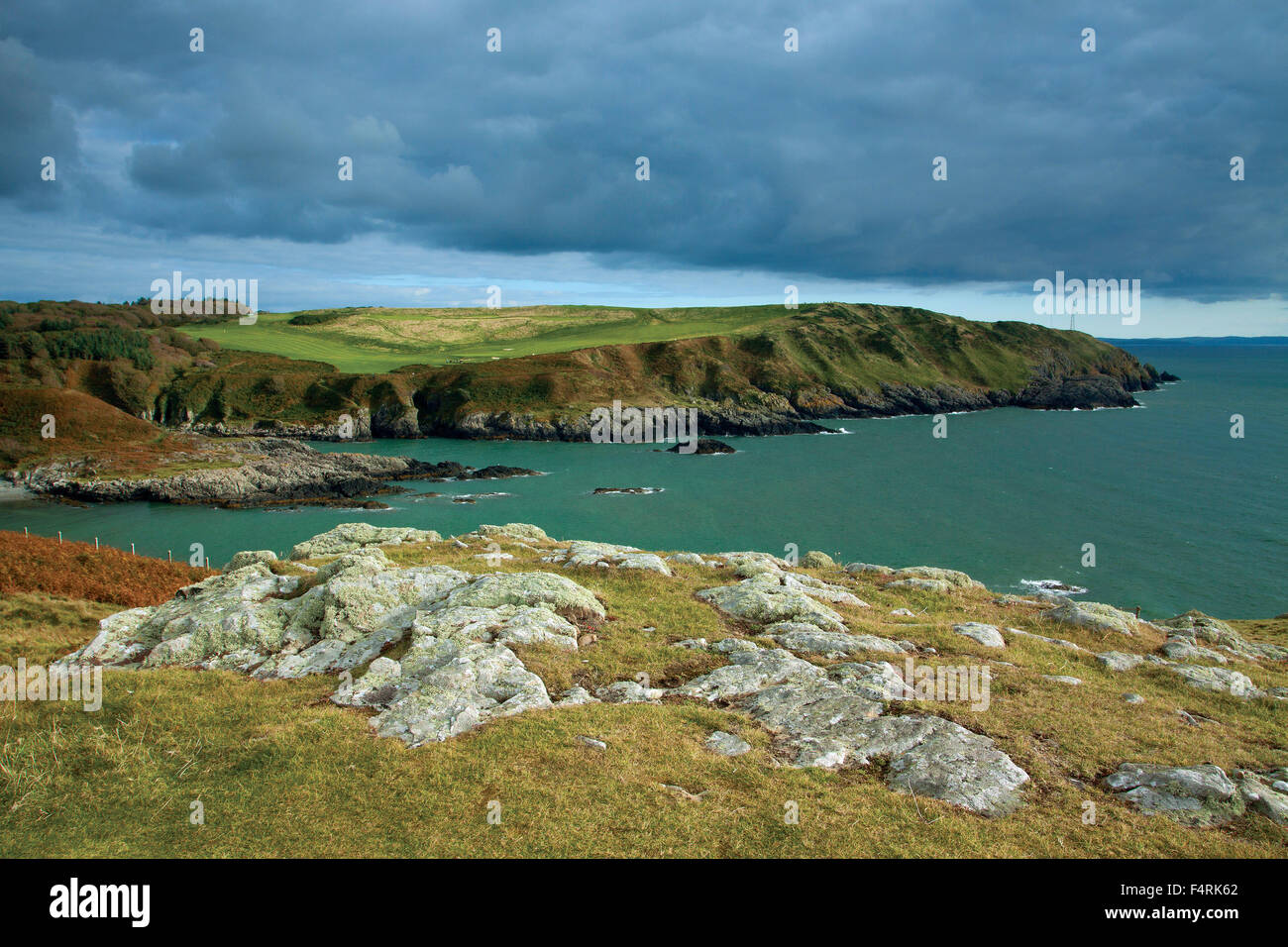 Port Mora and Port Kale from the Southern Upland Way near Portpatrick, Dumfries and Galloway - Stock Image