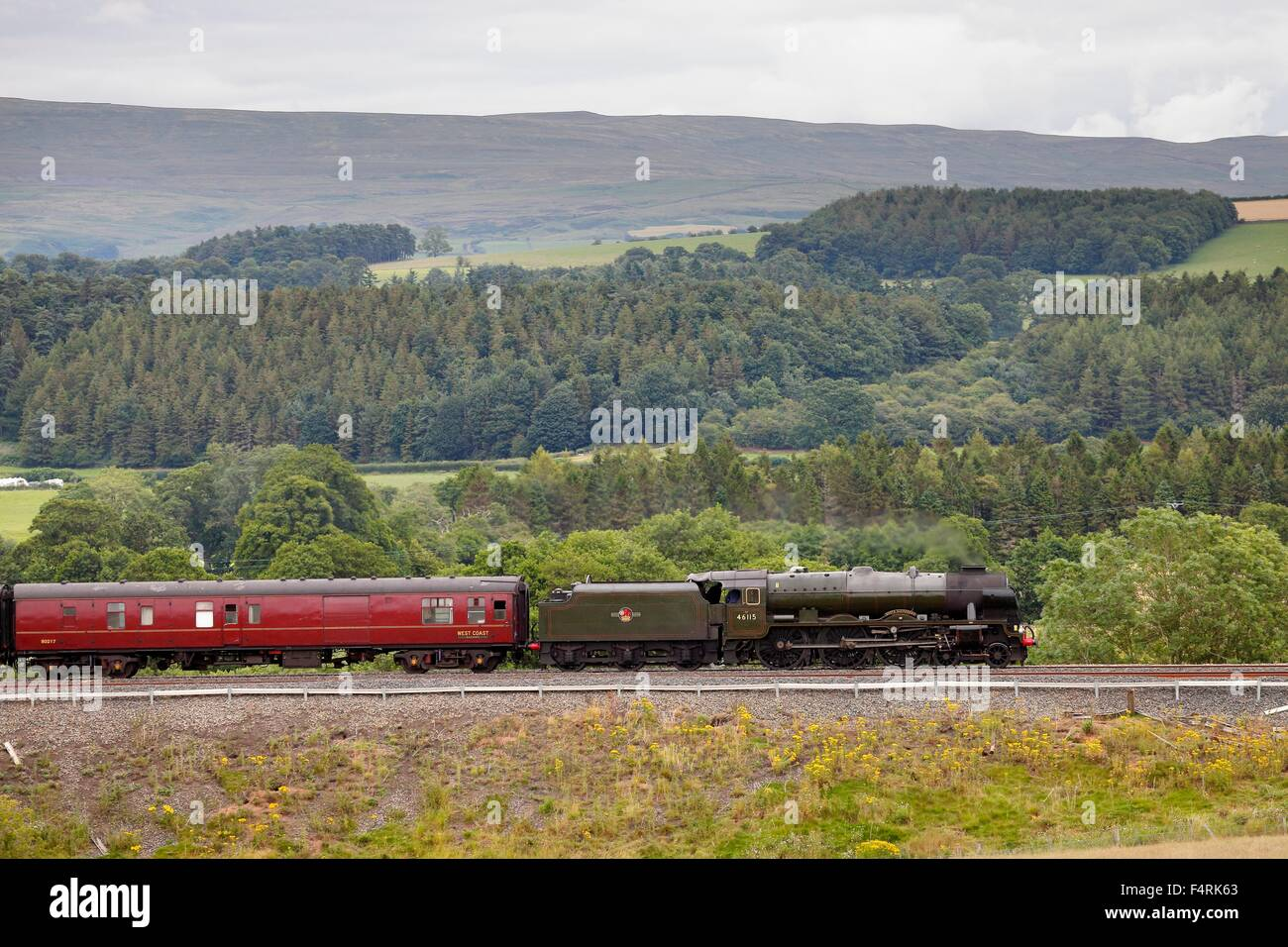 Steam locomotive LMS Royal Scot Class 46115 Scots Guardsman on the Settle to Carlisle Railway Line near Lazonby, - Stock Image