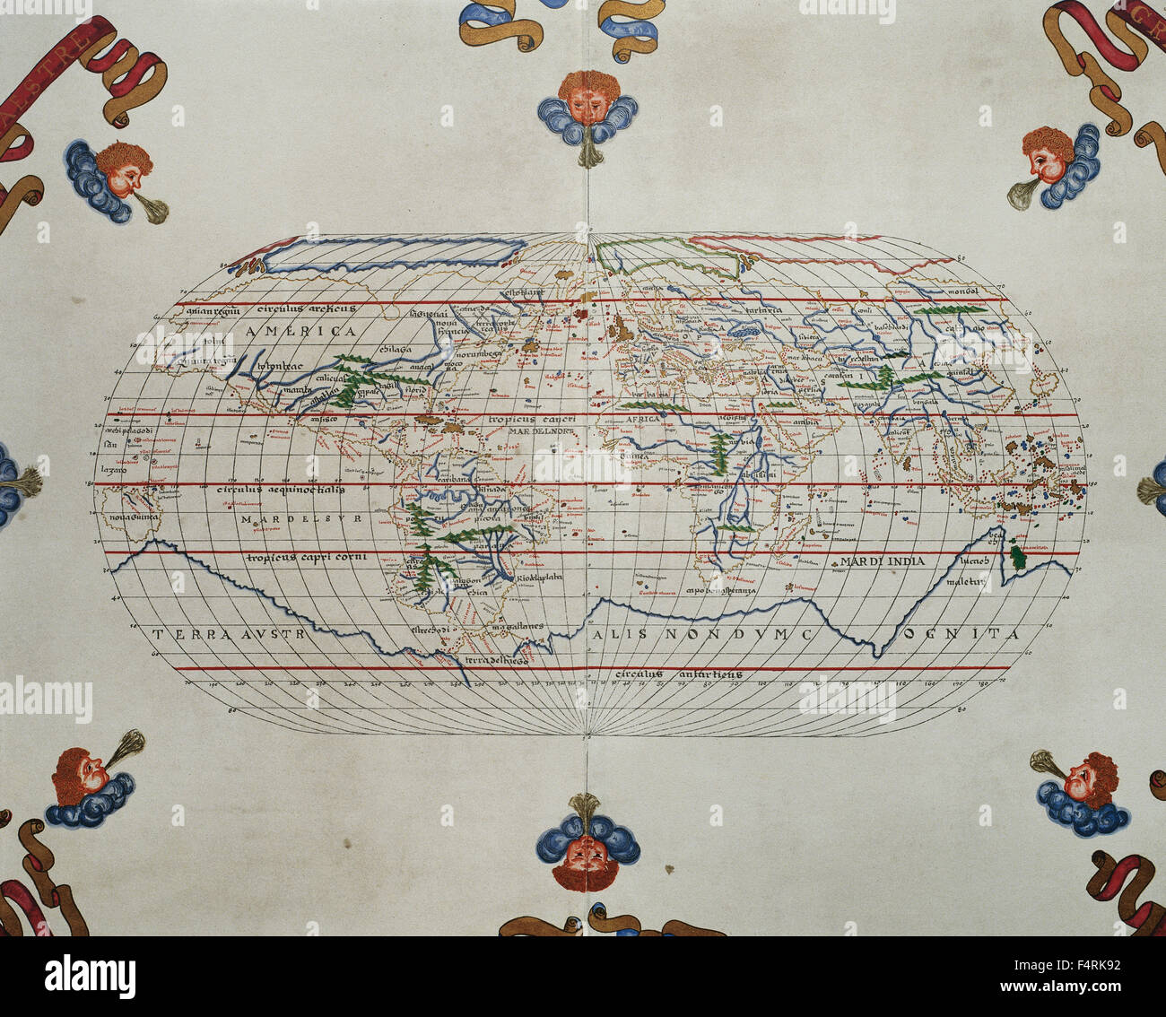 Portolan atlas of the world by Joan Martines (1556-1590). Messina, 1587. National Library. Madrid. Spain. - Stock Image