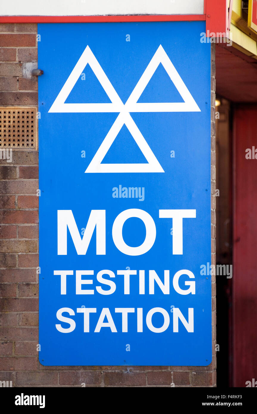 MOT test tests testing station stations mot'd vehicle certificate of roadworthiness Ministry Of Transport vosa - Stock Image