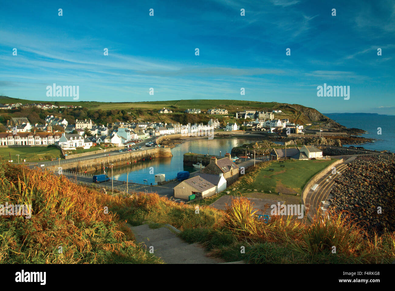 Portpatrick and Portpatrick Harbour from the Southern Upland Way, Portpatrick, Dumfries and Galloway - Stock Image