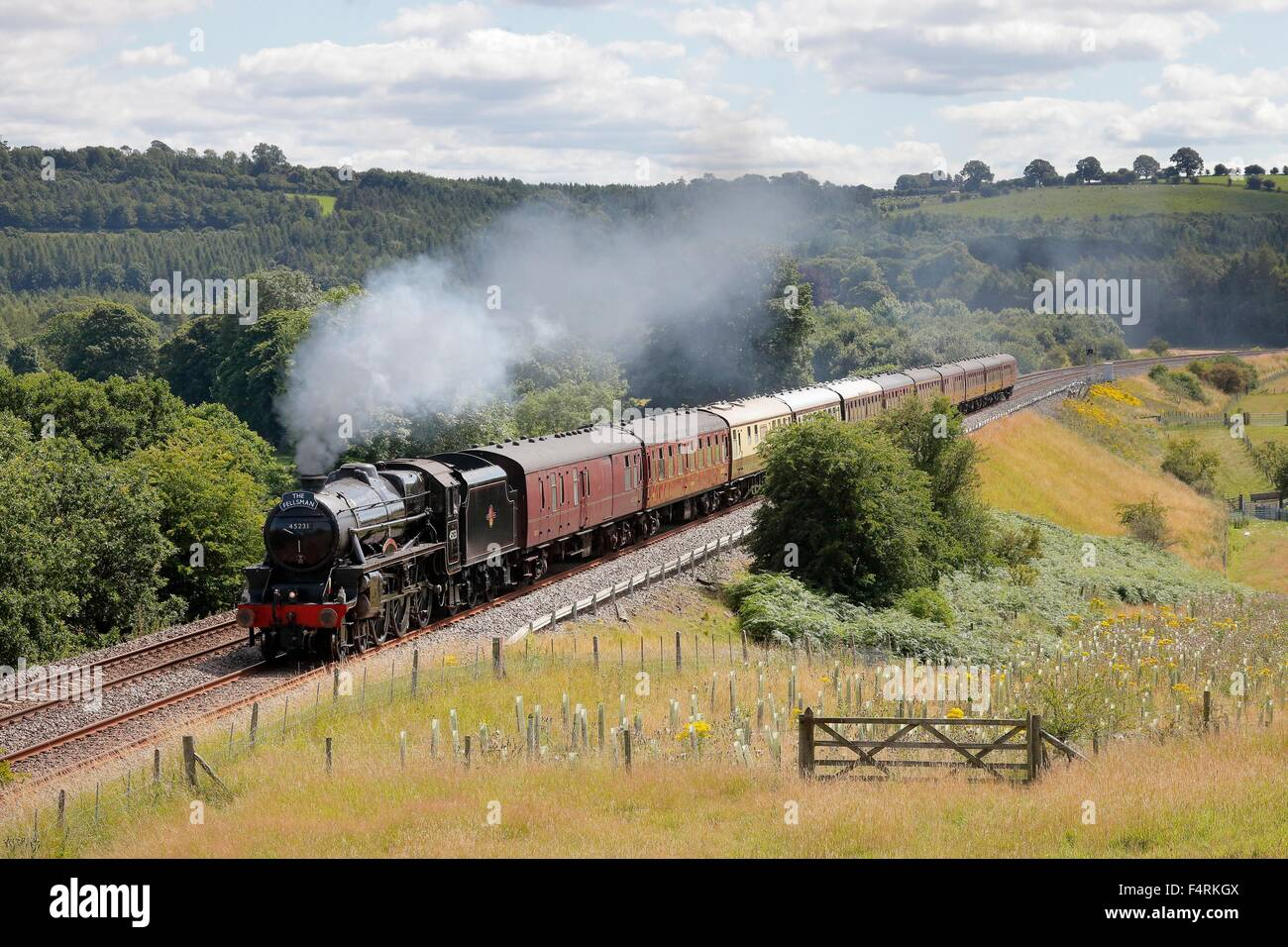 Steam locomotive LMS Stanier Class 5 4-6-0 The Sherwood Forester. Settle to Carlisle Railway Line near Lazonby, - Stock Image