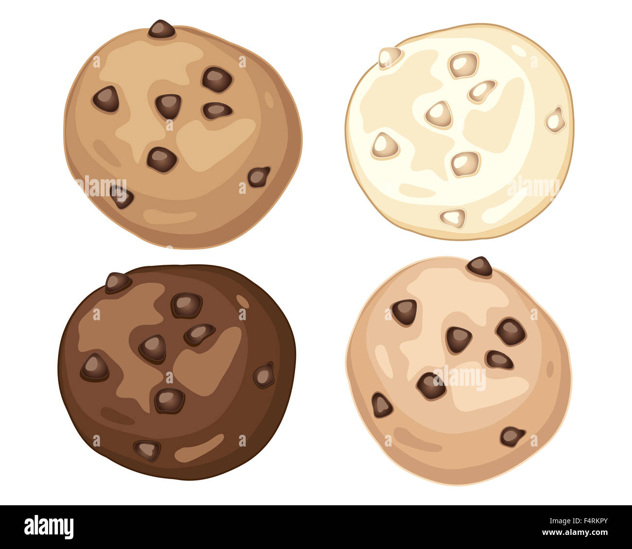 an illustration of a visual advert for home made chocolate chip cookies in plain milk and white chocolate on a white - Stock Image