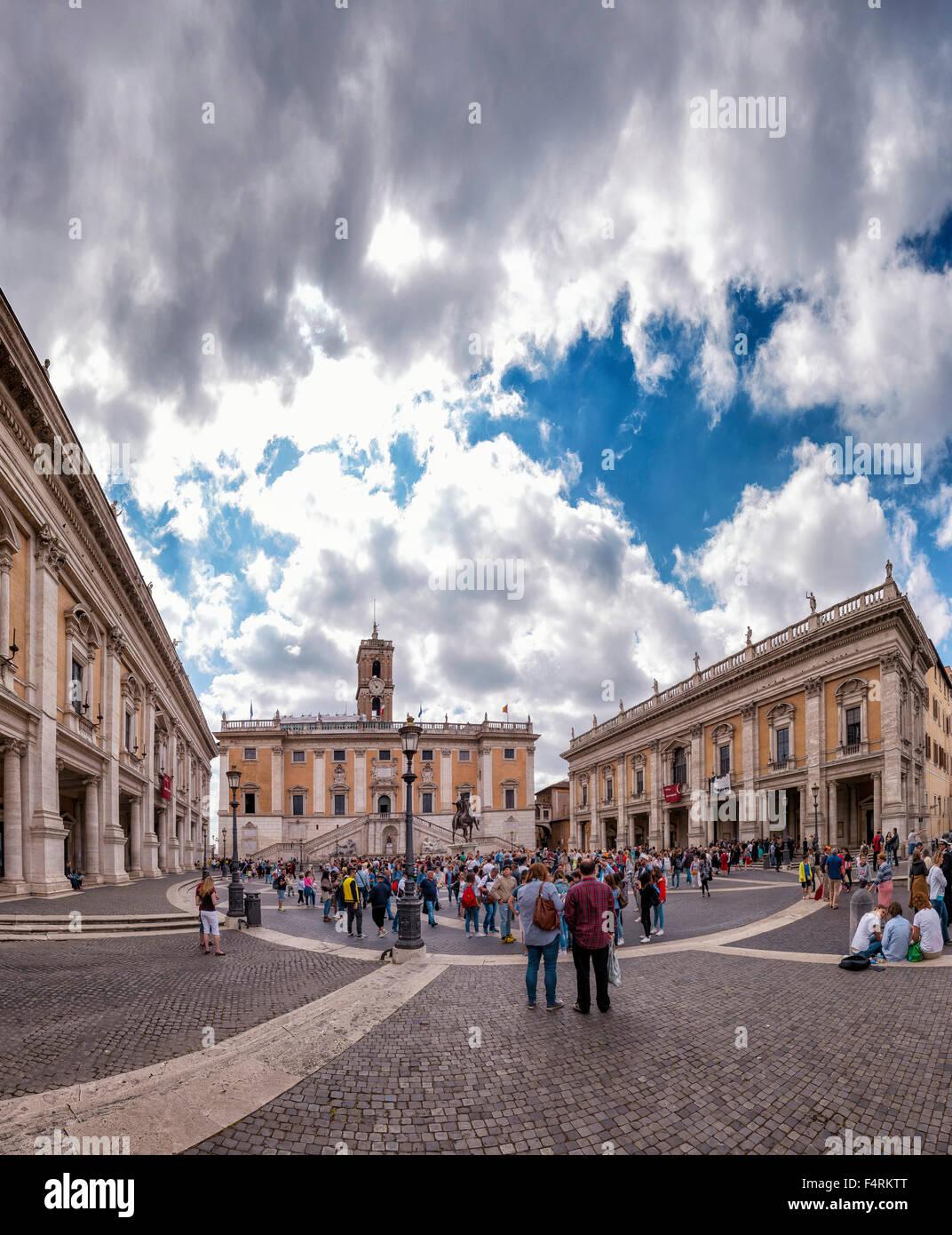 Italy, Europe, Lazio, Rome, Roma, city, village, spring, people, Piazza, Campidoglio - Stock Image